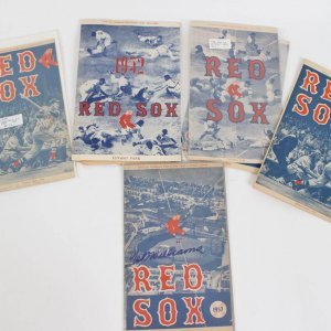 1950s Boston Red Sox Fenway Park (8) Lot of Programs - Score Cards Incl. 1957 Signed by Ted Williams & April