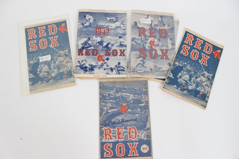 "1950s Boston Red Sox Fenway Park (8) Lot of Programs - Score Cards Incl. 1957 Signed by Ted Williams & April, 30 1952 - Williams Home Run Game Before Going to War ""Ted Williams Day"""