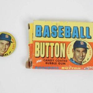 1956 TOPPS PIN BOX TED WILLIAMS HOF RED SOX BASEBALL CARD BUTTON PINBACK DISPLAY & PIN