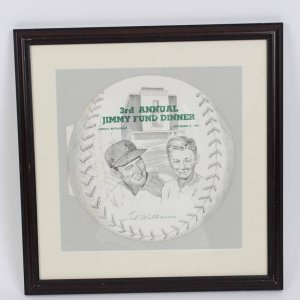 1959 3rd Annual Jimmy Fund Dinner Advertisement Signed & Inscribed by Ted Williams 13x17 Display