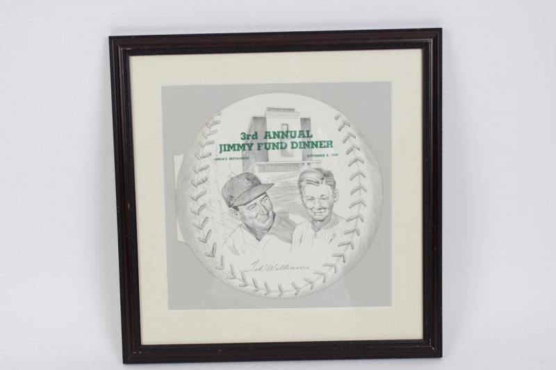 1959 3rd Jimmy Fund Ad Signed & Inscribed by Ted Williams 13x17 Display -JSA