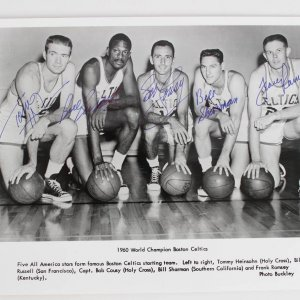 1960 Boston Celtics World Championship Team-Signed 8x10 Photo (5 Signatures) Russel