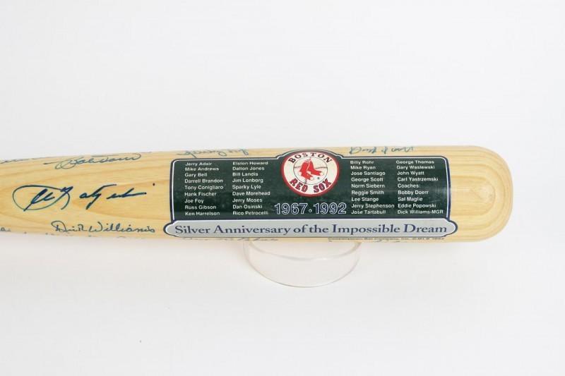 1967 Red Sox Reunion Cooperstown Bat - 26 Sigs. - Yaz, Doerr, Williams etc.- JSA