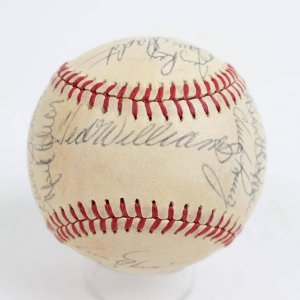 1980s Boston Red Sox Multi-Signed Reunion Baseball 21 Sigs. Incl. Ted Williams