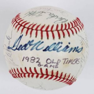 1982 Cracker Jack Old Timers' Day Team-Signed OAL (MacPhail) Baseball 23 Autographs Incl. Ted Williams
