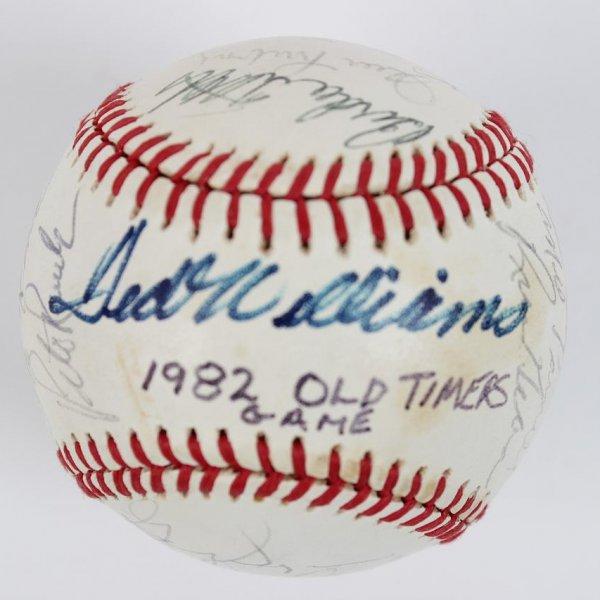 1982 Cracker Jack Old Timers' Day Team-Signed OAL Baseball 23 Sigs. - JSA