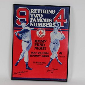 "1984 Boston Red Sox - Ted Williams & Joe Cronin Jersey Number Retirement ""Jimmy Fund"" Poster Signed by Ted Williams 16x22 Display"