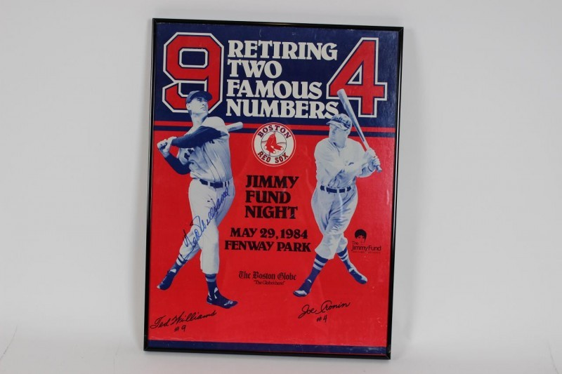 "1984 Red Sox - Ted Williams Signed ""Jimmy Fund"" Poster 16x22 Display - JSA"