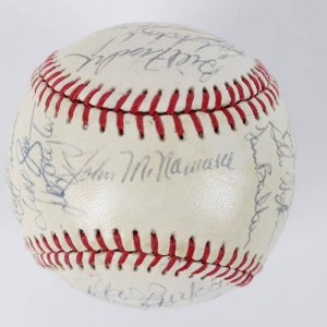 1986 Boston Red Sox Team Signed  OAL (Brown ) Rawlings Baseball Clemens (CY) & (MVP) Boggs