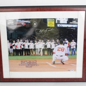 2007 Boston Red Sox World Series Game 1 First Pitch - Carl Yastrzemski Signed 16x20 Photo (LE 8/100 - PSA/DNA COA)