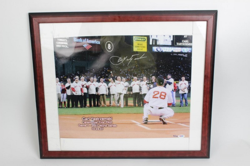 2007 Red Sox WS Game 1 First Pitch- Carl Yastrzemski Signed 16x20 Photo- COA PSA/DNA