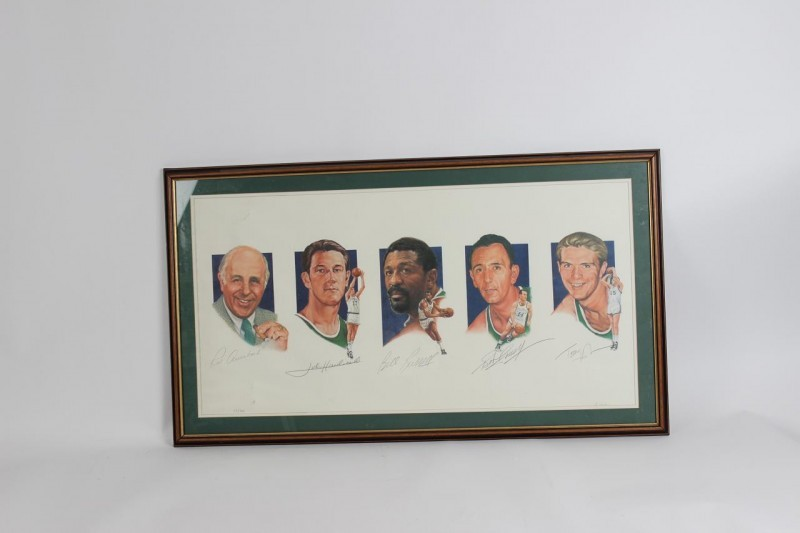 Boston Celtics Legacy I #'d Lithograph Signed by Red Auerbach, Bill Russell, John Havlicek, Bob Cousy & Tom Heinson