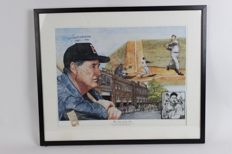 "Boston Red Sox - Ted Williams ""End of an Era"" Signed, Inscribed Litho (LE AP 34/100) - JSA"