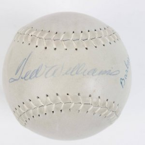 Boston Red Sox - Ted Williams & Daughter Barbara Williams Signed Hardwood Softball