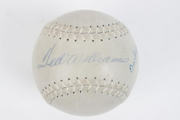 Boston Red Sox - Ted Williams & Daughter Barbara Williams Signed Hardwood Softball
