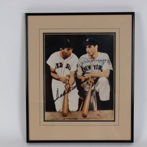 Boston Red Sox - Ted Williams & New York Yankees - Joe DiMaggio Signed 8x10 Photo Display