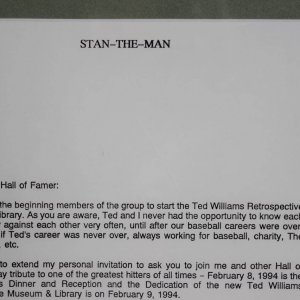 Boston Red Sox - Ted Williams & St. Louis Cardinals - Stan Musial Typed & Signed Letter (TLS) Display w/Chesterfield Ad