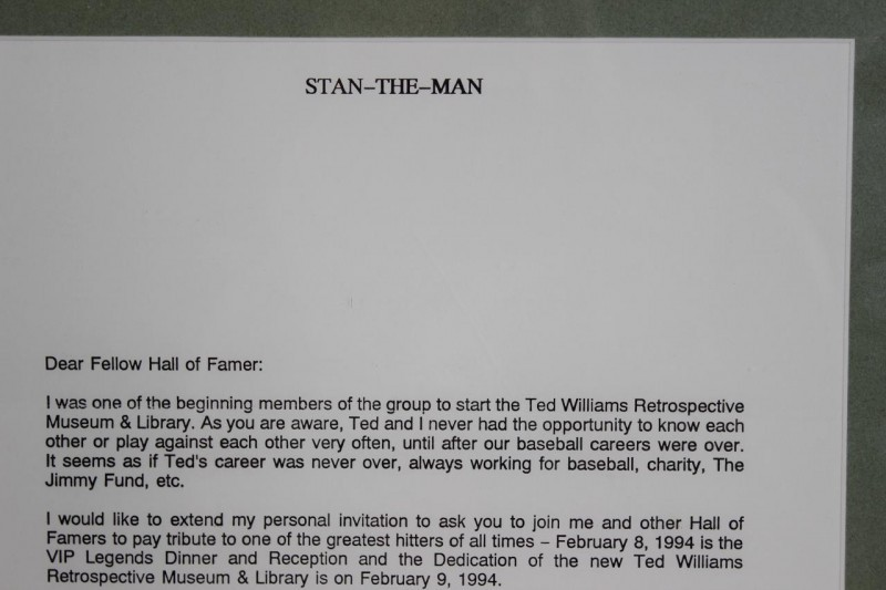 Ted Williams & Stan Musial Signed Letter Display w/Chesterfield Ad - PSA/DNA