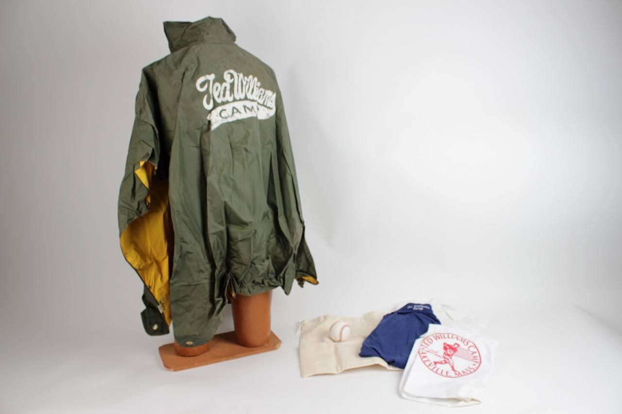 Boston Red Sox - Ted Williams Camp Item Lakeville, Mass. Lot Feat. Raincoat, (2) Shirts, Baseball, Pillowcase & Laundry Bag