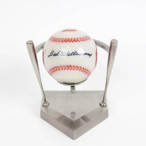 Boston Red Sox - Ted Williams Heavy Glass Baseball in Holder Display (Mounted Memories)