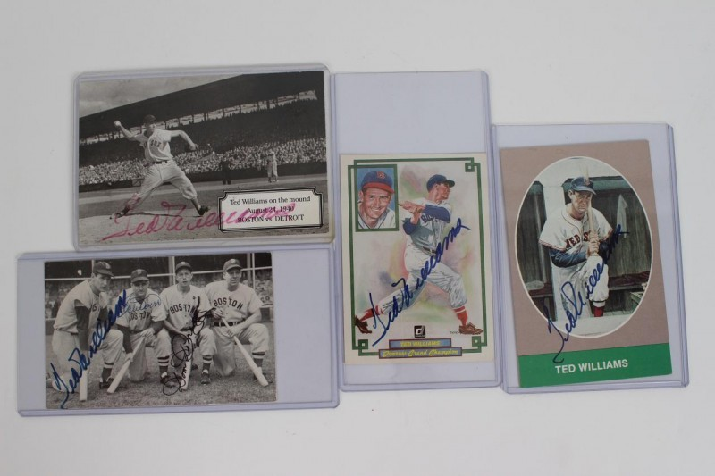Boston Red Sox - Ted Williams Lot of 4 Signed Photo Postcards - JSA