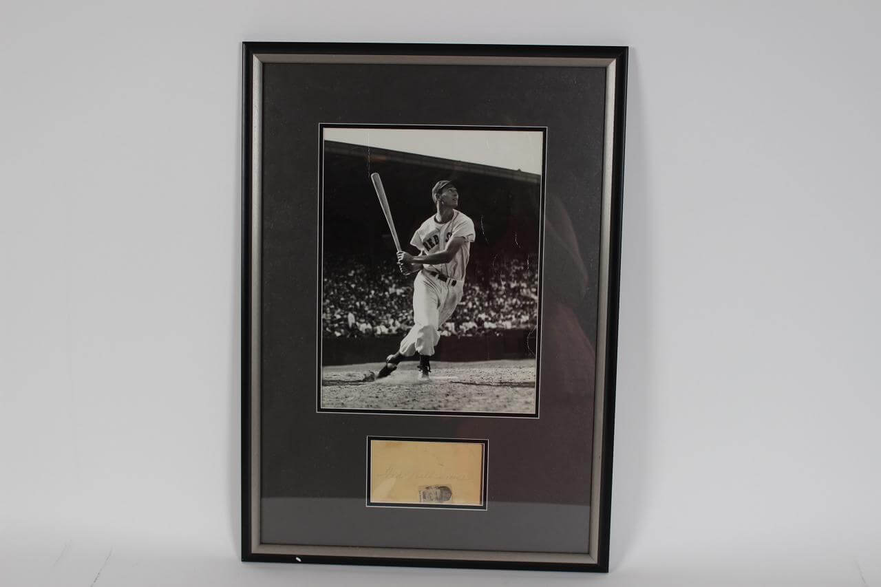 Red Sox - Ted Williams Original Brearley Collection Signed Post Card 18x25 Display - JSA