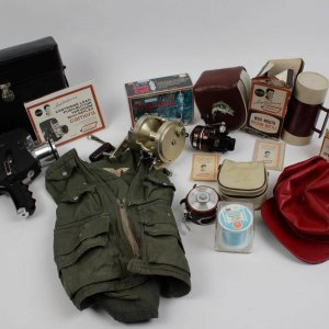 Boston Red Sox - Ted Williams Outdoorsman Endorsed Item Lot - 10 Incl. Sears 8mm Camera w/Case