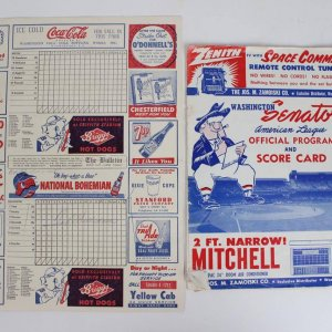 Boston Red Sox - Ted Williams Signed (2) Piece Lot - 1954 Washington Senators Program & Scorecard