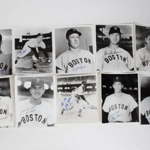 Boston Red Sox Lot of 10 Signed 8x10 B&W Photos - JSA