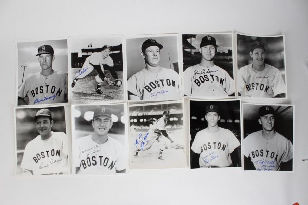 Boston Red Sox Lot of 10 Signed 8x10 B&W Photos Incl. Ernie Andres