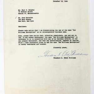 "Boston Red Sox Vintage Theodore  S. (Ted) Williams  Signed Typed Letter ""To Attorney"" Dated December 13"