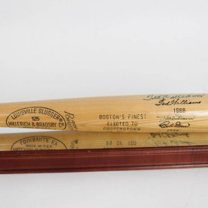 Boston's Finest Elected To HOF Cooperstown Bat Signed  By Ted Williams Bobby Doerr & Carl Yastrzemski