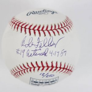 Cleveland Indians - Bob Feller Signed & Inscribed Retired Jersey HOF OML Baseball
