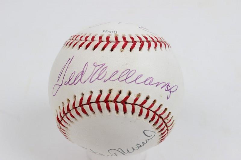 HOF Multi-Signed Baseball (4)- Williams, Musial, Reese & Slaughter - JSA