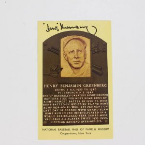 Hank Greenberg Signed HOF Postcard