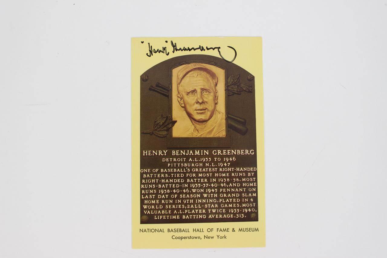 Hank Greenberg Signed Postcard - COA JSA