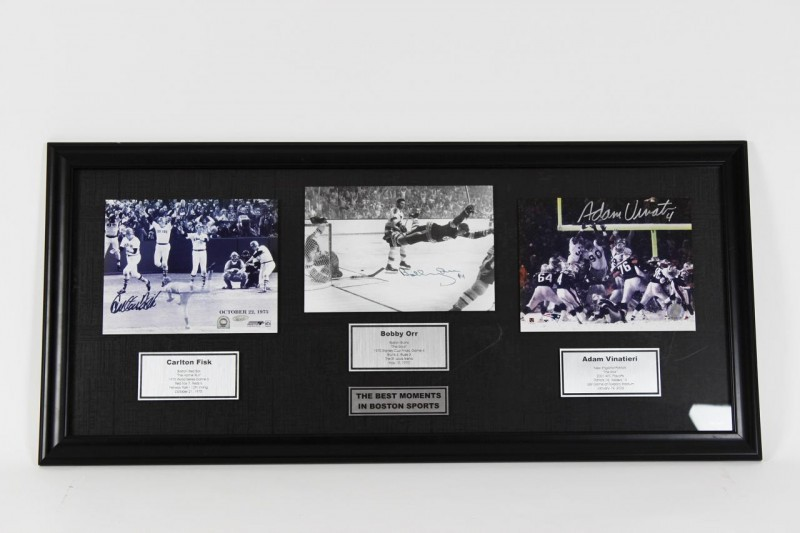 Heart Pounding Highlights in New England / Best Moments in Boston Sports 19x41 Display feat. Signed Photos Carlton Fisk, Bobby Orr & Adam Vinatieri