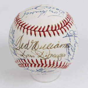HOFer & All-Stars Multi-Signed Baseball OAL (Brown) Baseball 24 Autographs Incl. Ted Williams