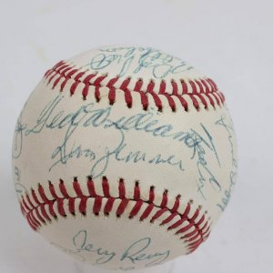 Late 1970s Boston Red Sox Signed Team-Signed Baseball 25 Sigs. Incl. Ted Williams