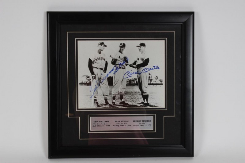 HOF'ers- Mickey Mantle,Ted Williams & Stan Musial Signed16x17 Photo Display- JSA
