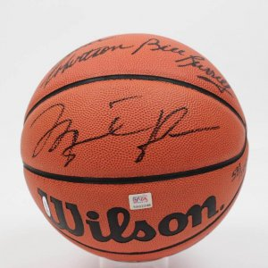 NBA Legends LE Signed Basketball - 5 Autos Incl. Jordan, Bird etc. - PSA/DNA Full LOA
