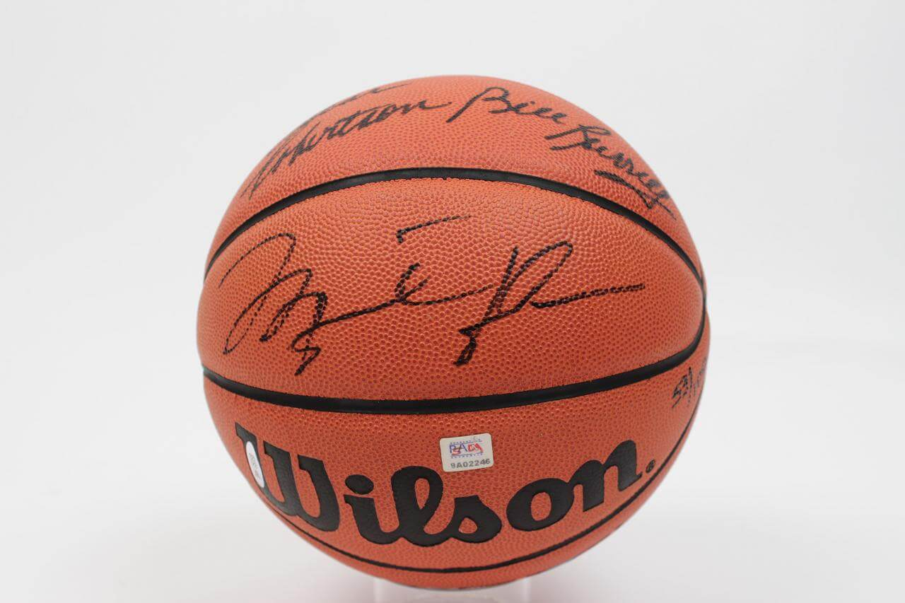 NBA Legends LE Signed Basketball - 5 Autos Incl. Jordan, Bird etc. - PSA/DNA Full LOA