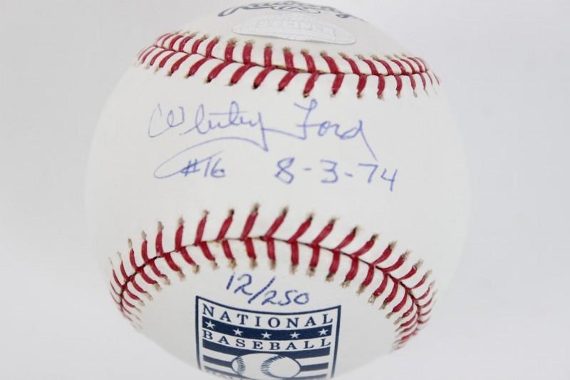 New York Yankees - Whitey Ford Signed & Inscribed Retired Jersey HOF OML Baseball (MLB Hologram & Steiner COA)