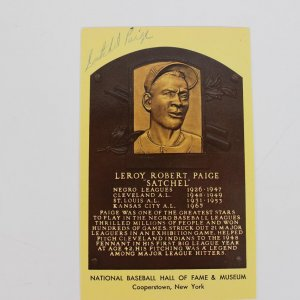 Satchel Paige Signed Hall of Fame Postcard (Yellow)