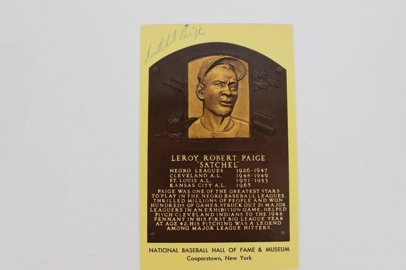 Negro League - Satchel Paige Signed Hall of Fame Postcard (Yellow) - JSA