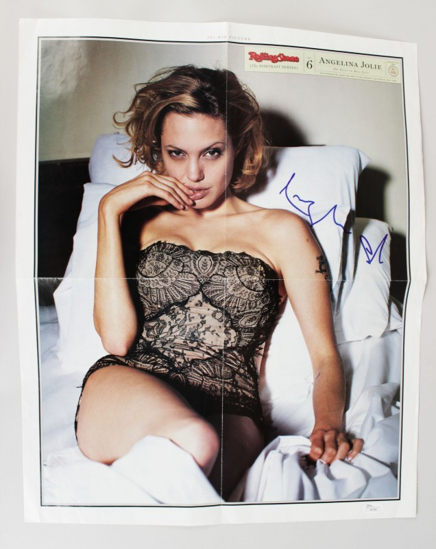 1999 Rolling Stone Angelina Jolie Signed The Devil in Miss Jolie Article 18x22 Poster - COA JSA