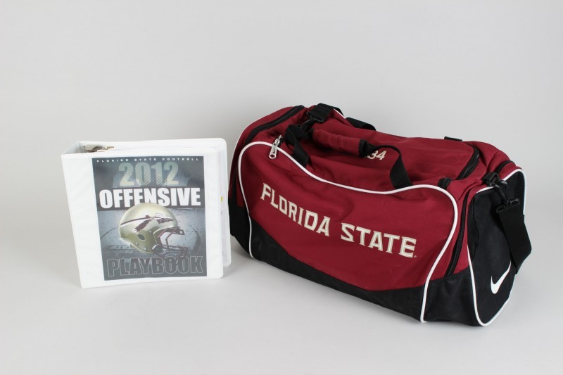 2013 BCS National Champions Florida State Seminoles - Jameis Winston Game-Used Team Travel Bag & 2012 Playbook (Incl. Provenance LOA)