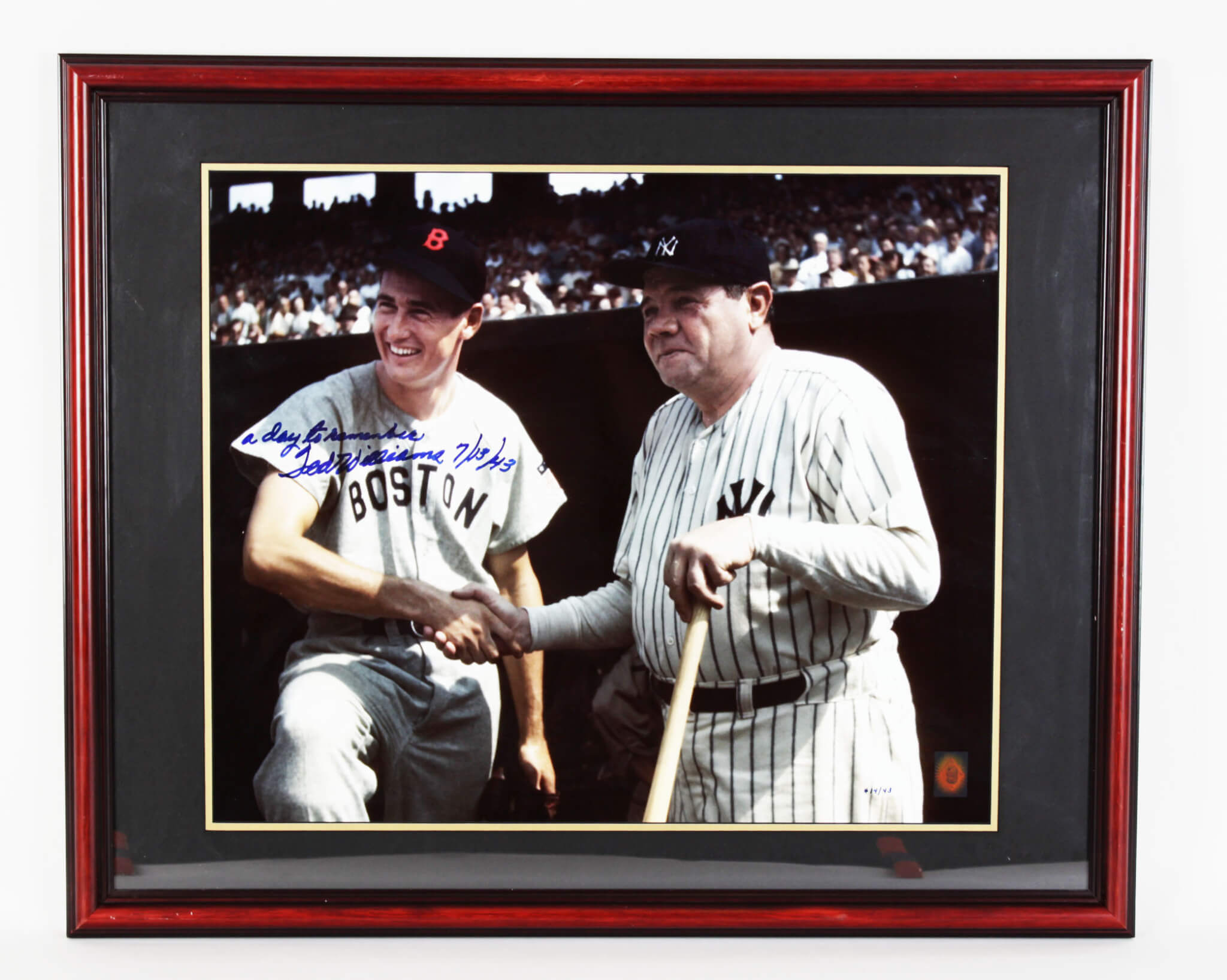 Red Sox- Ted Williams Signed & Inscribed w/ Babe Ruth 26x32 Photo Display - COA