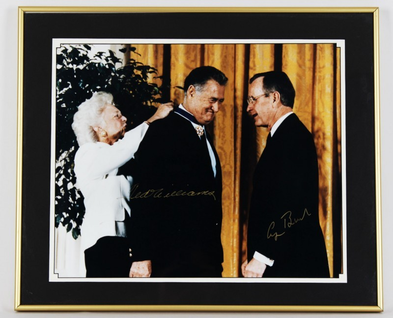 1991 Medal of Freedom Award - Boston Red Sox - Ted Williams & President George Bush Sr. Signed 20x24 Display