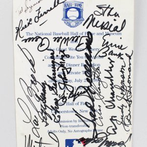 1985 Hall Of Fame Card Signed- 17 Sigs. - Ted Williams, Ernie Banks, Pee Wee Reese and others